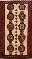 Vintage Traditional Oriental Geometric Area Rug Hand-Knotted Wool 4x6 Carpet