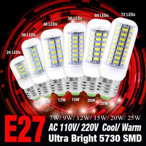 Ultra Bright 5730 SMD LED Corn Bulb Lamp Cool/Warm Light AC 110V/220V E27 Base