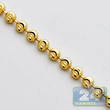 Solid 14K Yellow Gold Army Moon Cut Bead Ball Mens Dog Tag Chain 3 mm 22 Inches
