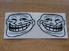 Stickers Visage de Troll-Noir + Blanc-Paire de 75x65mm stickers-Internet Meme