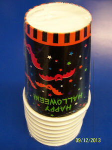 Cloak & Bat Black Orange Stripe Happy Halloween Theme Party 12 oz. Paper Cups