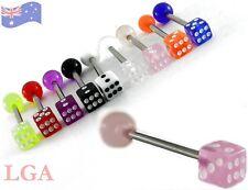 PINK DICE Tongue Bars Tounge Piercing Nipple Barbell Body Bar 14g 16mm PINK C