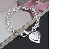 Women's Silver Plated Link Chain Heart Love Bracelet Fashion Jewellery Gift UK