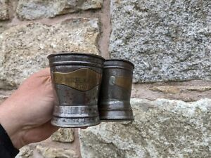 ANTIQUE MINERS CHILDRENS TIN TANKARDS WITH BELLS DATED 1898