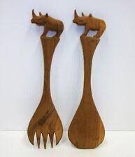 Vintage Carved Wood - Rhinoceros Animal Serving Spoon Fork Set