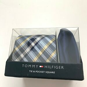 NIB! TOMMY HILFIGER Men's Blue/Yellow Gingham Cotton Tie & Pocket Square Set