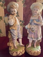 Antique German Bisque Porcelain Boy Girl Matched Pair Piano Babies 16&1/2 inches