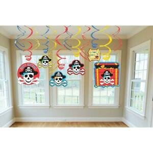 Pirate's Treasure Map Caribbean Kids Birthday Party Hanging Swirl Decorations