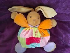 Doudou lapin patchwork muticolore  K123 KALOO tbbe orange rouge bleu jaune vert