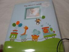 New L'il Peach Pearhead Baby's Memory Record Book - Blue/Green ~Animal Train Boy