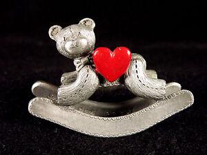 Spoontiques Pewter Rocking Teddy Bear Heart 1984 Miniature Metal PP237