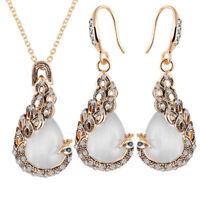 Moda donna pavone di cristallo opalino pendente collana orecchini set di gi C-KT