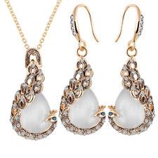 Fashion Women Peacock Opal Crystal Pendant Necklace Drop Earrings Jewelry Set_HC