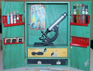 Vintage A.C. Gilbert No. 10 Microscope & Lab Kit in Original Wooden Box !