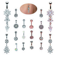 9Pcs/Set Dangle Crystal Rhinestone Belly Button Ring Navel Bar Piercing JewelES