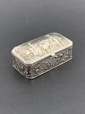 Tabatière en argent massif XIXe Antique silver snuff box Silber Tabakdose