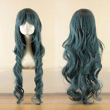 Rouleau long ondulés bouclés cosplay perruque de couleur bleu-gris, vendeur britannique, style Jeri