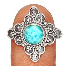 Bali Design - Genuine Larimar - Dominican Republic 925 Silver Ring s.8 BR58659