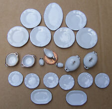 1:12 Scale White Ceramic 22 Piece Dinner Set With Gold Edging Dolls House 2194