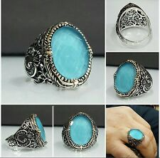 Bague Chevalière Argent Massif 925 Zircon Bleu 10gr Sterling Silver Men Ring