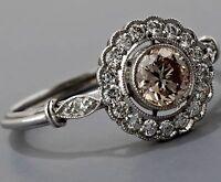 Art Deco Green Sapphire White Diamond 925 Sterling Silver Vintage Antique Ring 7