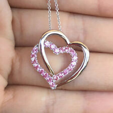 Pink Sapphire Double Heart Pendant Necklace 925 Sterling Silver