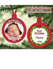 BABY'S FIRST CHRISTMAS ORNAMENT Personalized Photo Name Message 2 Sides Printed