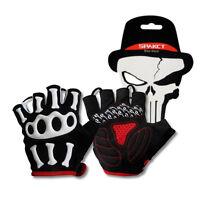 SPAKCT Short Finger Half Finger Cycling Gloves-Skeleton Black White New