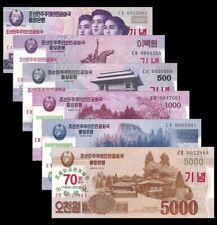 NORTH KOREA ORIGINAL SET WON 70th ANNIVERSARY UNC 6 BANKNOTES KOREAN ASIA COREA