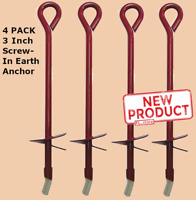 4 PACK 30 Inch Shed & Tent Anchor Steel Screw In Earth Ground Swing Stake NEW