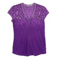 Athleta Purple Ombre Floral Burn Out Top Shirt Short Sleeve Womens Size S
