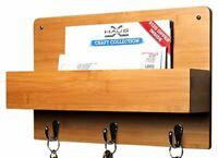 Bamboo Letter Holder Rack Wall Mount Mail Sorter Organizer Storage 3 Key Hooks