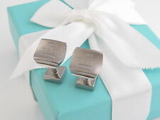 Tiffany & Co Silver 1837 Titanium Square Cuff Links Cufflinks Box Pouch Card