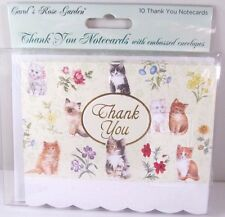 Carol Wilson 10 Thank you  Card Lace Borders Stationery Kittens & Flower New
