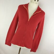 Anthropologie Sleeping On Snow S Small Cardigan Red Zip Up Zipper Front L/S E3P