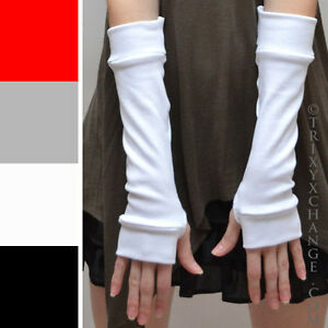 Womens White Cotton Gloves Typing Arm Warmers Winter Sleeves Driving Hand Covers