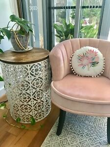 Small MOROCCAN DRUM TABLE Metal & Timber   Side Coffee Bedside Hamptons Coastal