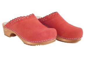 Sanita Clogs - best comfortable traditional Danish clogs - wood and coral suede