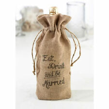 Eat, Drink and Be Married burlap wedding wine bag bridal shower engagement party