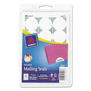"""Avery® Printable Mailing Seals, 1"""" dia., White, 600/Pack 072782052478"""