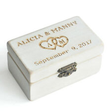 Vintage White Wedding Ring Box Personalized Ring Bearer Box Rustic Wedding Gift
