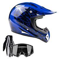 Blue Adult Motocross Helmet Combo Black Gloves Goggles Off-road Dirt Bike ATV MX