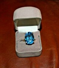 Huge 19.5 Carat Oval Blue Topaz Gemstone Solitaire Ring -10 Karat Yellow Gold