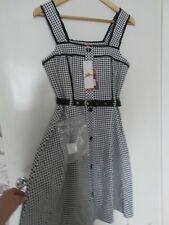BNWT Vintage style Gingham Dress by JOE BROWNS Navy Blue Cotton size 10 Belt