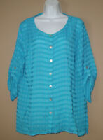 Womens Size XL 16 18 Long 3/4 Sleeve Crimped Solid Blue Spring Blouse Top Shirt