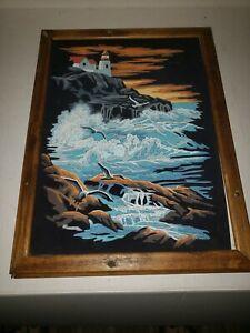 Vintage 70s Paint By Number PBN Seascape Black Velvet Framed