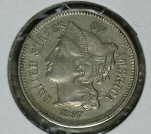 Nice 1867 Three Cent Nickel - Solid Almost Uncirculated Condition Coin!