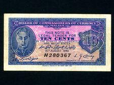 Malaya:P-2,10 Cents 1940 * King George VI * VF *