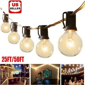25/50FT G40 Globe Bulbs Patio Fairy String Light Outdoor Waterproof Patio Lights
