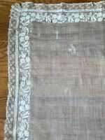 French antique c. 1830-40 silk/linen hand embroidered floral bridal handkerchief